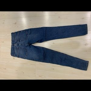Topshop blue jeans with lace up detail - size 28